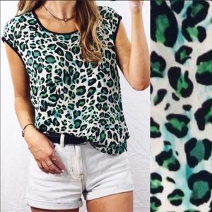 CAbi Green Jungle Animal Print Tank Top - Medium